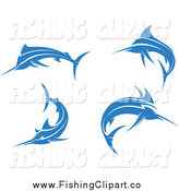 Clip Art of Jumping Blue Marlin Fishes by Seamartini Graphics