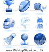 Clip Art of Nine Shiny Blue Sports and Recreation Icons by AtStockIllustration
