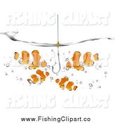 Clip Art of Orange and White Clownfish Looking at a Fishhook Under the Waters Surface by