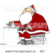Clip Art of Santa Claus Sitting on a Pail and Ice Fishing on a Frozen Lake by Djart