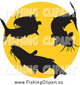 Clip Art of Silhouetted Catfish and a Yellow Circle by Patrimonio