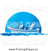 Clip Art of Silhouetted Ladies Fishing from a Boat by Lal Perera