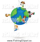 Clip Art of Sporty Boys on a Globe by Colematt
