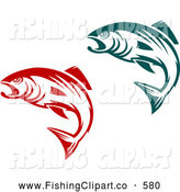 Clip Art of Teal and Red Jumping Fish by Vector Tradition SM