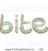Clip Art of the Word Bite Created of Fish on White by Prawny