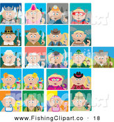 Clip Art of Twenty One Historical, Holiday and Occupation Scenes of Blond Caucasian Boys and Girls by Dennis Holmes Designs