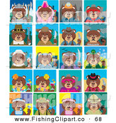 Clip Art of Twenty Tiled Dark Teddy Bear Costumes by Dennis Holmes Designs