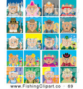 Clip Art of Twenty Tiled Teddy Bear Costumes by Dennis Holmes Designs