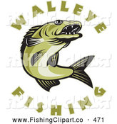 Clip Art of Walleye Fishing Text Around a Jumping Fish by Patrimonio