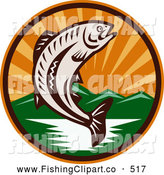 June 17th, 2013: Retro Clip Art of a Woodcut Trout Jumping from a River with Mountains and Sun Rays in the Background - Coloring Page Outline by Patrimonio