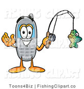 Wireless Cellular Telephone Mascot Cartoon Character Holding a Fish on a Fishing Pole Waving by Toons4Biz