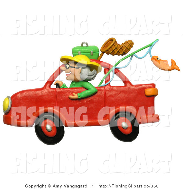 Clip Art of a 3d Granny Driving a Red Car to Go Fishing
