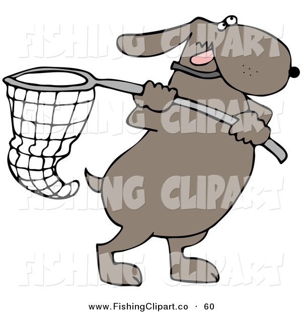 Clip Art of a Ambitious Brown Dog Running with a Net
