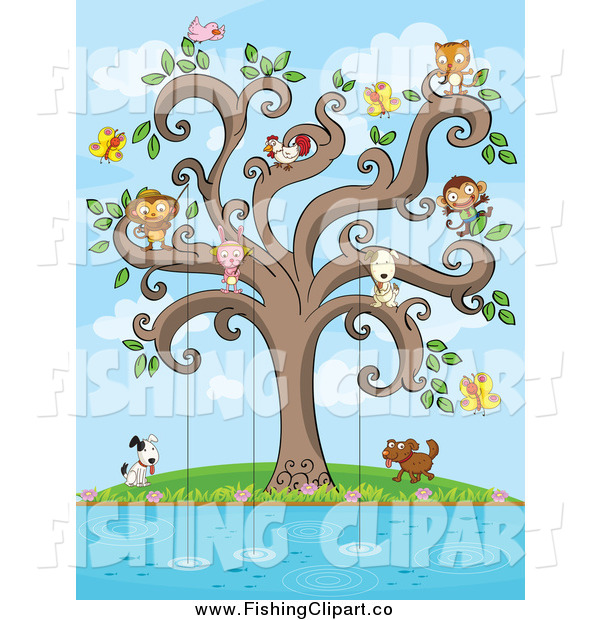 Clip Art of a Animals Fishing from a Swirl Tree