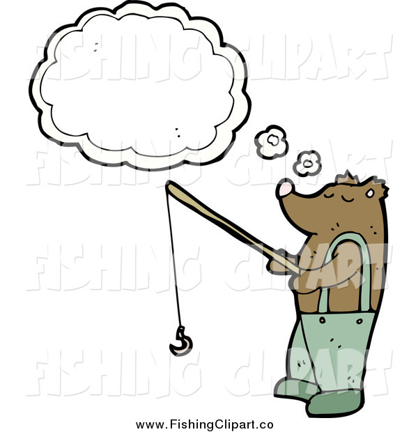 Clip Art of a Bear Thinking and Fishing