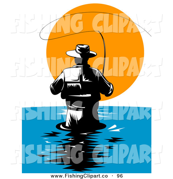 Clip Art of a Behind View of a Wading Fly Fisherman Against the Sunset