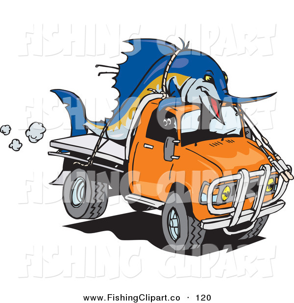 Clip Art of a Billfishblue Marlin Fish Tied on Top of an Orange Ute on White