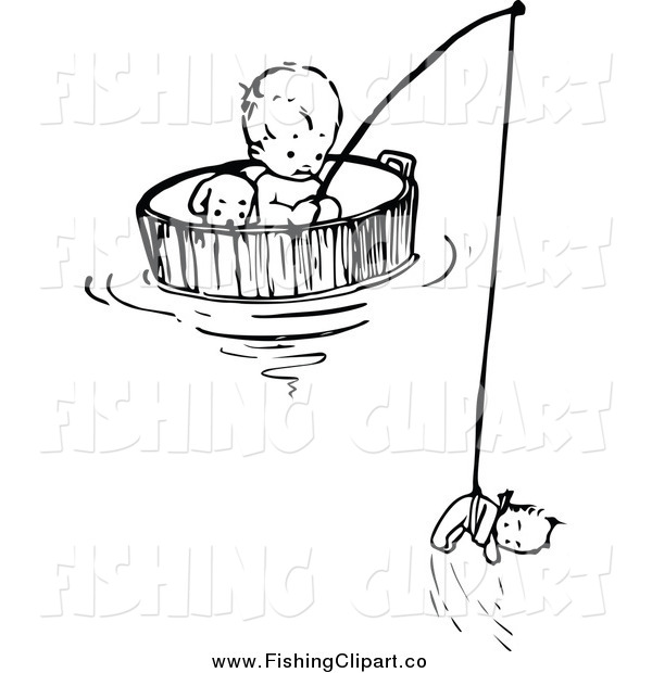 Clip Art of a Black and White Baby Floating and Fishing in a Barrel