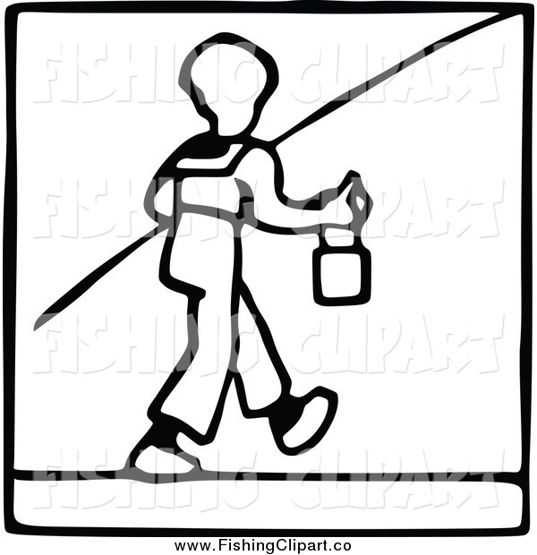 Clip Art of a Black and White Boy Going Fishing