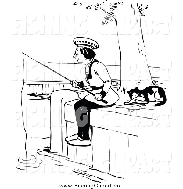 Clip Art of a Black and White Cat Resting by a Man Fishing