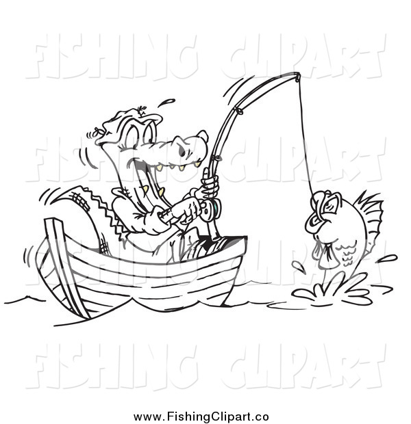 Clip Art of a Black and White Crocodile Fishing from a Boat