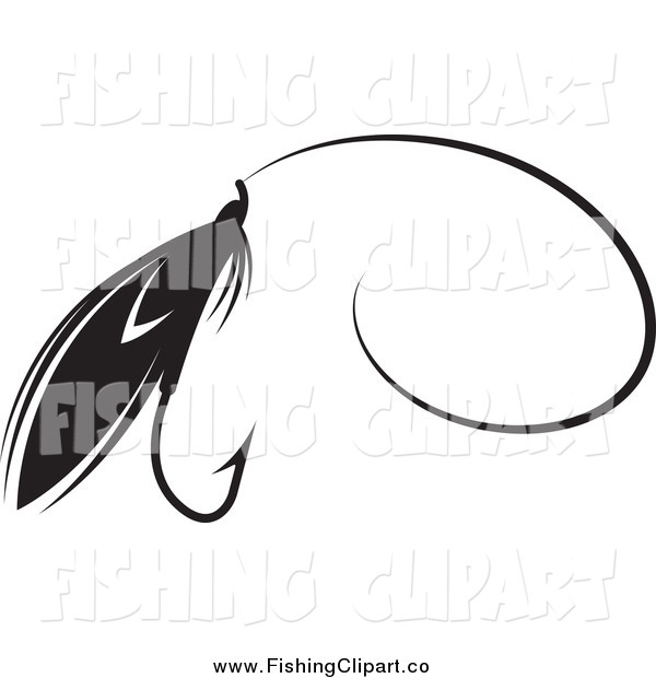 Clip Art of a Black and White Fly Fishing Lure with a Hook