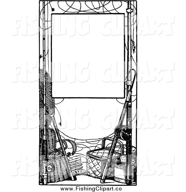 Clip Art of a Black and White Frame of Fishing Gear