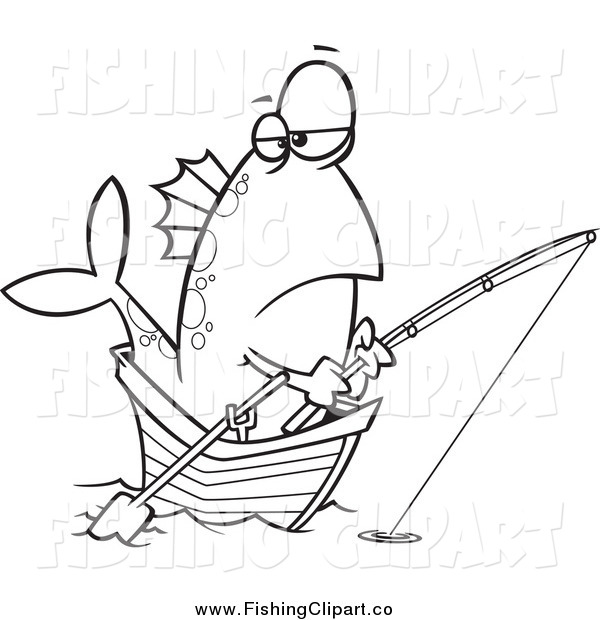 Clip Art of a Black and White Grumpy Fish Fishing from a Boat