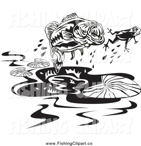 Clip Art of a Black and White Largemouth Bass Fish Chasing After a Frog