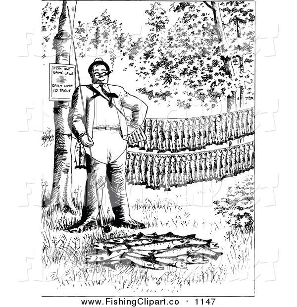 Clip Art of a Black and White Man with His Fishing Pole and Trout
