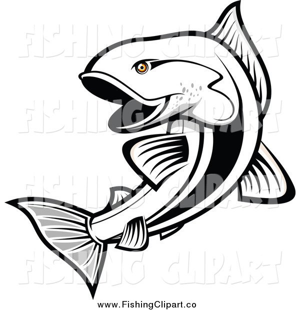 Clip Art of a Black and White Salmon Fish with Orange Eyes