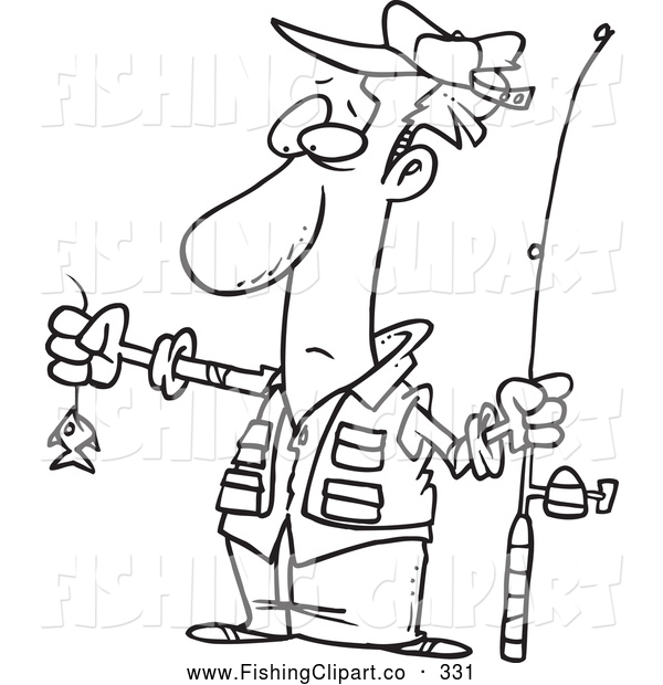 Clip Art of a Black and White Sketch of a Disappointed Fisherman with a Tiny Fish