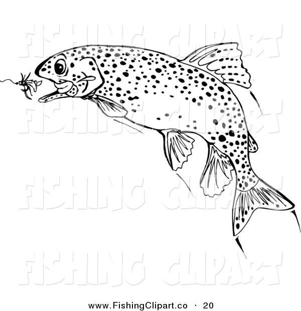 Clip Art of a Black and White Trout Fish Chasing a Lure in the Water