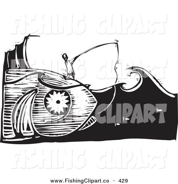 Clip Art of a Black and White Woodcut Scene of a Man Fishing and Catching the Giant Fish He