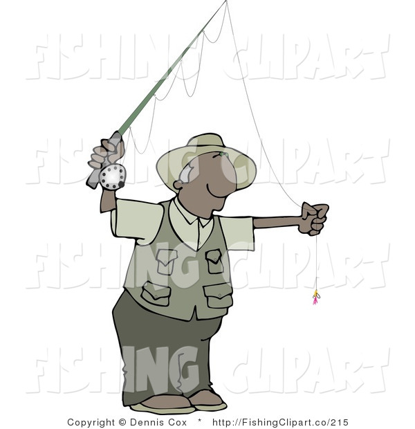 Clip Art of a Black Guy Fly Fisherman Getting Ready to Go Fishing