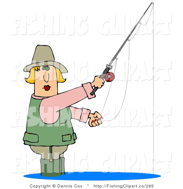 Clip Art of a Blond White Woman Wading in Water and Fishing