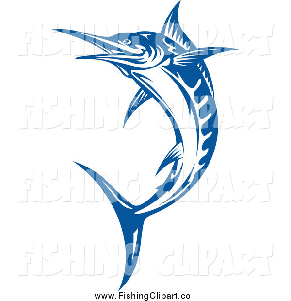 Clip Art of a Blue Jumping Billfish