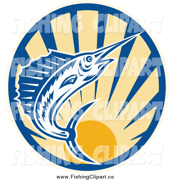 Clip Art of a Blue Marlin Leaping over a Circle of Sunshine