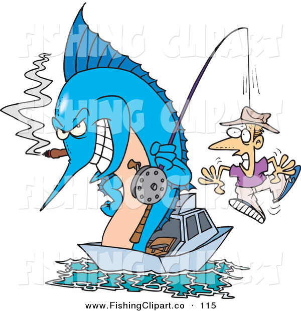 Clip Art of a Blue Marlin Smoking a Cigar and Reeling in a Man on a Hook
