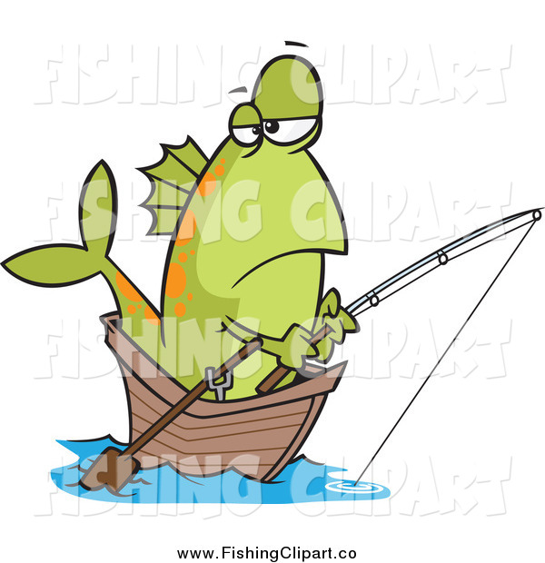 Clip Art of a Bored Green Fish Fishing from a Boat