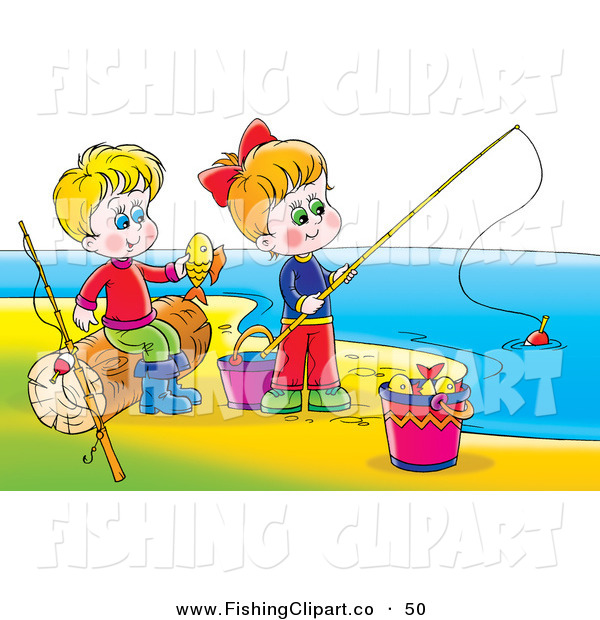 Clip Art of a Boy and Girl Having Fun While Playing and Fishing on a Beach