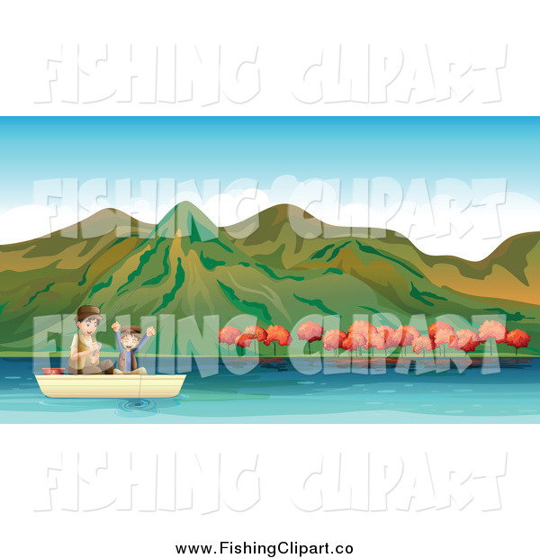 Clip Art of a Boy Fishing with His Dad on an Autumn Lake