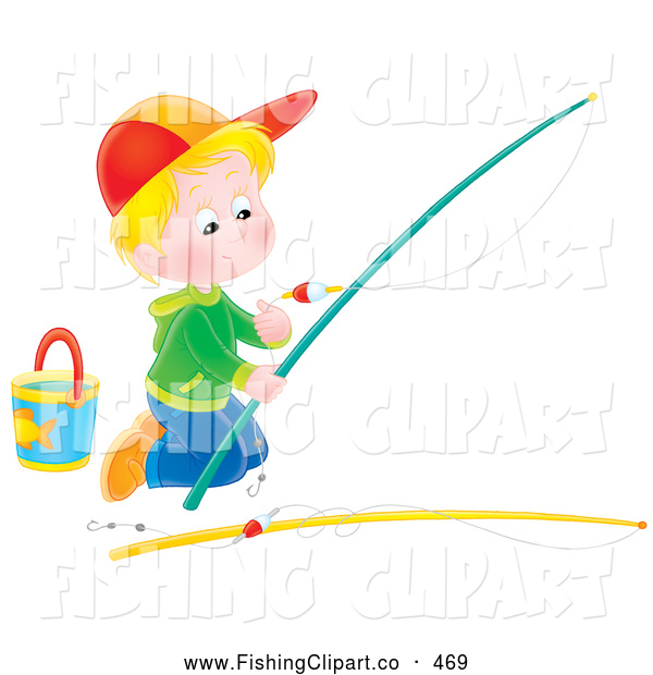 Clip Art of a Boy Kneeling and Preparing a Fishing Pole, Trying to Catch a Fish by Himself