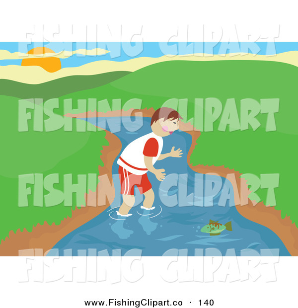 Clip Art of a Boy Wading in the River and Trying to Catch a Fish with His Bare Hands