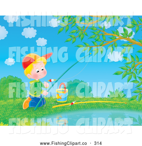 Clip Art of a Bright Picture of a Child Boy Fishing in a Pond