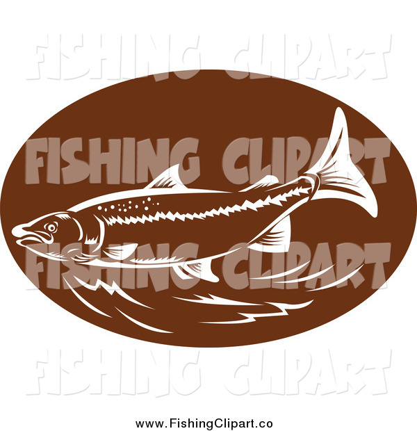 Clip Art of a Brown and White Trout Oval