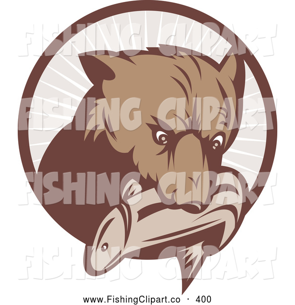 Clip Art of a Brown Bear with a Fish in His Mouth over a Brown Circle