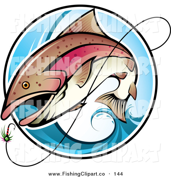 Clip Art of a Brown Fish Leaping out of a Blue Wave to Bite a Lure