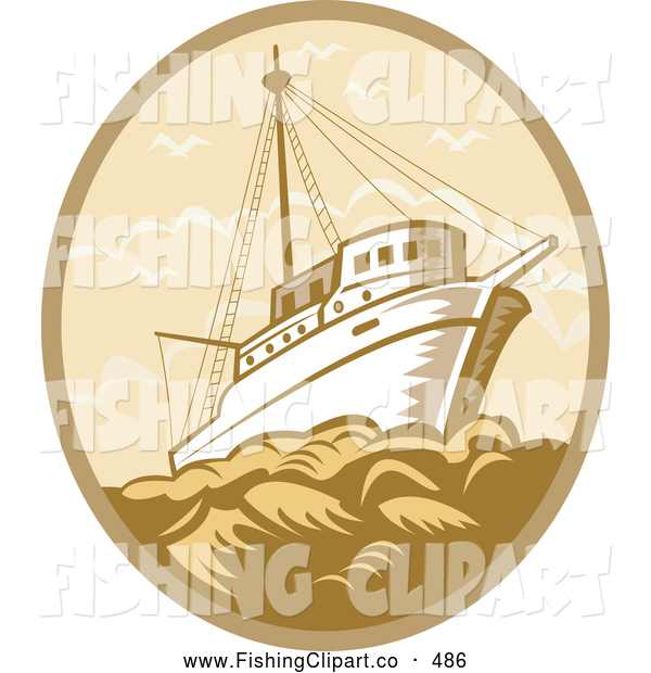 Clip Art of a Brown Retro Fishing Boat at Sea Logo