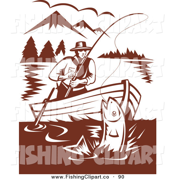 Clip Art of a Brown Scene of a Fisherman Sitting in a Boat, Reeling in a Fish on a Mountainous Lake